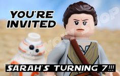So in love with these Rey LEGO minifig birthday party invitation for Star Wars parties from Thee Wow Shop