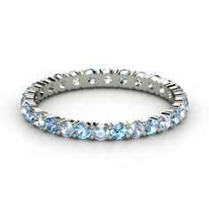 14K White Gold Ring with Aquamarine & Blue Topaz | Rich & Thin Eternity Band | Gemvara this is what I want on either side of my engagement ring in between that and my wedding band.  It has my and all 3of my boys birthstones