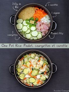 J'adore le concept des one pot où tout cuit dans la même casserole, toutes… - Información de vida saludable 2020 One Pot Meals, Meals For One, Easy Meals, Healthy Chicken Recipes, Easy Healthy Recipes, Healthy Food, Batch Cooking, Cooking Recipes, Cleaning Recipes