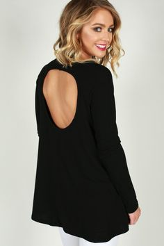 Cool Girl Cut Out Top in Black