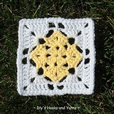 "5 1/2"" Square in Square pattern (add a double crochet or scallop border to make it big enough for a dishcloth)"