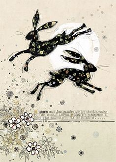 Leaping Hares by Jane Crowther. Design for Bug Art greeting cards.