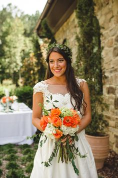 Orange Bouquet + Leaf Crown -- Photography by http://spindlephotography.com