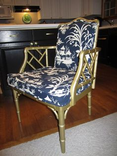 AFTER - Metallic gold painted Chippendale style faux bamboo chair with navy chinoiserie fabric!