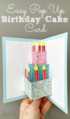 Easy Pop Up Birthday Card DIY - love this DIY Birthday Cake Card - so easy and fun to make. Would be great for as a Wedding Card DIY too! diy Easy Pop Up Birthday Card DIY - Red Ted Art Birthday Card Pop Up, Simple Birthday Cards, Homemade Birthday Cards, Bday Cards, Kids Birthday Cards, Birthday Crafts, Homemade Cards, Cake Birthday, Birthday Images