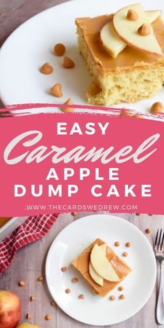 Easy Caramel Apple Dump Cake Recipe Caramel Apple Dump Cake, Apple Dump Cakes, Dump Cake Recipes, Caramel Apples, Dessert Recipes, Fresh Apples, Fall Desserts, 4 Ingredients, Apple Pie