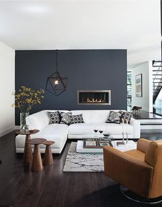 grey accent wall living room