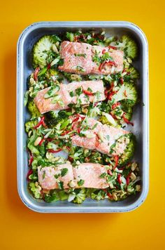 All-in-One Steam-roasted Salmon & Broccoli with Lime, Ginger, Garlic & Chilli