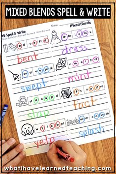 Phonics Worksheets for Initial and Final Blends Writing Center Kindergarten, 1st Grade Writing, Teaching First Grade, First Grade Teachers, 2nd Grade Reading, Teaching Reading, Literacy Centers, Blends Worksheets, Phonics Worksheets