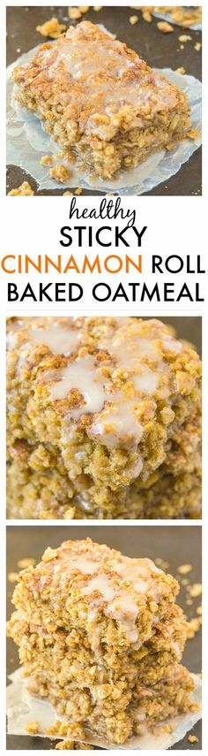 Healthy Sticky Cinnamon Roll Baked Oatmeal- Easy, delicious and a hit with everyone, this is the perfect breakfast or healthy snack which can be prepped in advance! You'd never believe it's so healthy! {vegan, gluten-free, dairy-free + high protein option!}- http://thebigmansworld.com