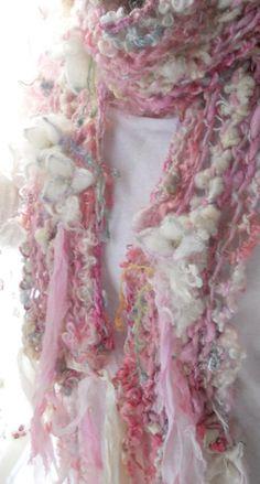 handknit scarf soft curls alpaca wool artyarn scarf  faerie