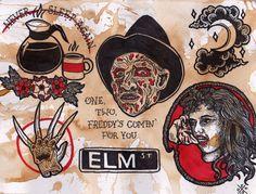 Traditional style nightmare on elm st tattoos