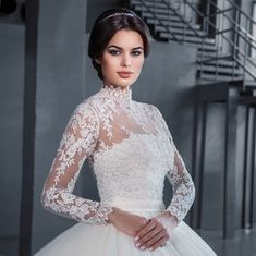 Ball Gown, Lace and Sleeves Wedding Dress M-1902