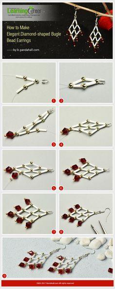 Elegant Diamond-shaped Bugle Bead Earrings • Tutorial