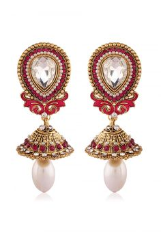 Stone Studded Earring in Fuchsia and White