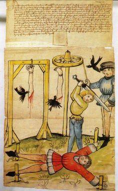 Schandbild painted in 1464 on behalf of Bernhard Wauer and directed against Johan Breyde. In the Historisches Archiv, Koln.