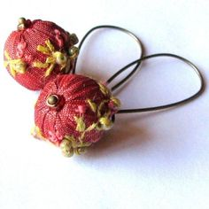 Embroidered bead earrings
