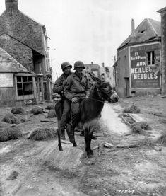 WWII Photo US Army Soldiers 1st Infantry Div. on Donkey June 1944 WW2 B&W / 1313   eBay