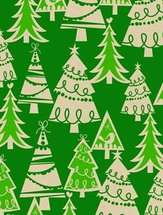 Christmas tree background wrapping paper possibly late 40's but more likely 1953-5 to mid 70's.