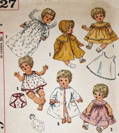Vintage 1960s Sewing Pattern Simplicity 4727 16 Inch Doll