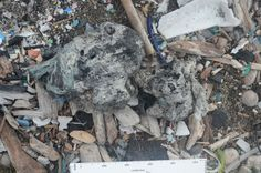 A new material called plastiglomerate has been discovered on Hawaii's Kamilo Beach. The rock is the result of melted plastic trash on beaches mixing with sediment, basaltic lava fragments and organic debris, such as shells. Shown here, a type of plastiglomerate called clastic, found on Kamilo Beach.