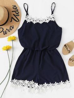 Shop Lace Trim Cami Romper at ROMWE, discover more fashion styles online. Cute Comfy Outfits, Cute Girl Outfits, Cute Summer Outfits, Pretty Outfits, Stylish Outfits, Girls Fashion Clothes, Teen Fashion Outfits, Mode Outfits, Outfits For Teens