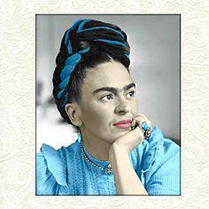 Frida Kahlo Instant Digitale Download Art Print digitaal schilderen Mixed Media Collage Aqua blauw grijs zwart witte olie acryl kleine tot Poster