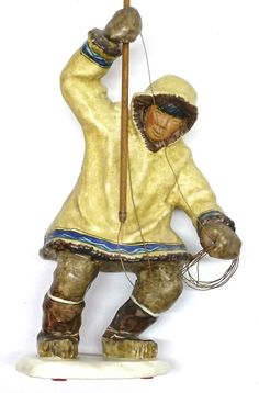 . Vintage C Alan Johnson 1962 Eskimo Figurine Ahtoon SIGNED .