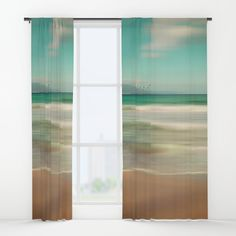 Another version without Typo, different colors and some little Birds. ©2017 by atelier COLOUR-VISION | Pia Schneider. #art #ocean #windowcurtain #curtains #deko #decoridea #homedecor #sea #aqua #blue #brown #hazelnut #summer #piaschneider #society6