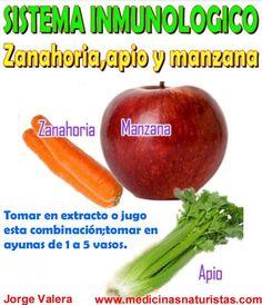 DIETA SISTEMA INMUNOLOGICO: ZANAHORIA, APIO y MANZANA Healthy Juices, Healthy Smoothies, Healthy Drinks, Raw Food Recipes, Healthy Recipes, Just Juice, Juice Smoothie, Natural Medicine, Detox Drinks