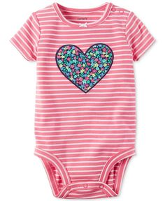 A pretty floral heart adds dainty style to this striped bodysuit from Carter's. | Cotton | Machine washable | Imported | Snaps at shoulder and bottom | Footless | Bow at neckline; floral-print butterf