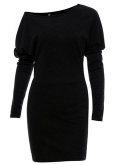 Black Batwing Sleeve Skew Neck Dress on sale only US$24.01 now, buy cheap Black Batwing Sleeve Skew Neck Dress at lulugal.com