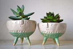 Tripod Bowl Planters, Set of 2 - eclectic - indoor pots and planters - by Atelier Stella