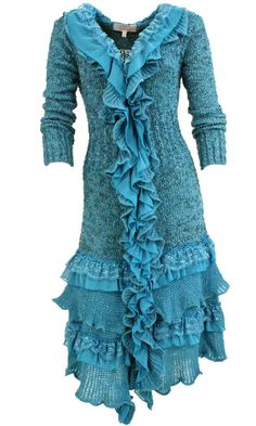 Ebony Long Vintage Sweater With Ruffles & Lace In Teal