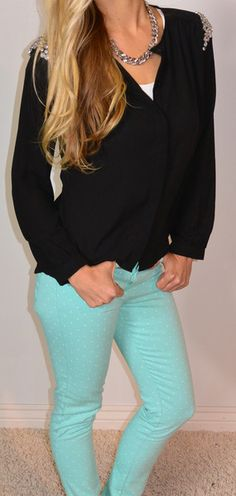 Rocker Chic Top... Freaking adorable with those pants.