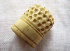 ANTIQUE CHINESE CARVED BONE (BOVINE) SEWING THIMBLE c1860 | eBay