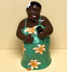 BLACK AMERICANA DIVA COOKIE JAR   (RARE green dress)