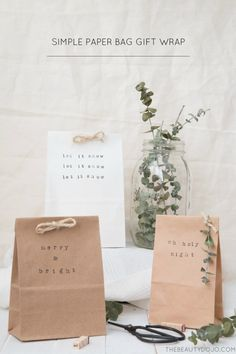 If you're still doing last minute Christmas shopping like me, then today's simple paper bag gift wrap post is perfect for you. These simple stamped bags are a quick way to wrap your gifts, but still make you look like a pro wrapper!