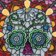 Day of the Dead Sugar Skull mosaic PRINT  8x10 by CherieBosela, $15.00