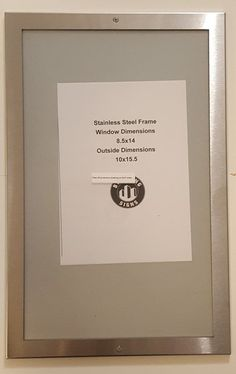 ELEVATOR CERTIFICATE FRAME STAINLESS STEEL 8.5x14