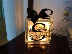 Monogram w last name glass block night light by anniemags on Etsy, $25.00