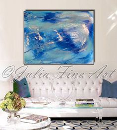 Check out 56inch, Ocean Painting, Blue Abstract Art, Turquoise Canvas Print, Silver, Water Painting, Aqua, Modern, Huge Wall Decor, Julia Apostolova on juliaapostolova
