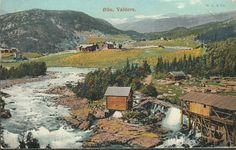Oppland fylke Vang i Valdres  VALDRES. Øylo Øilo. Parti i farger. Hus og mølle. Brukt 1909. Utg HARSTAD & Co