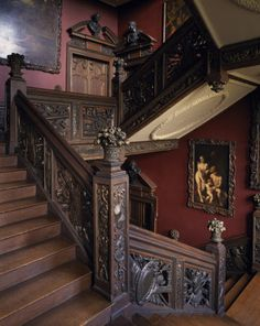 The Great Staircase at Ham House. It was constructed for William Murray in 1638-9 and designed as a magnificent prelude to the splendours of the upstairs State Apartment.