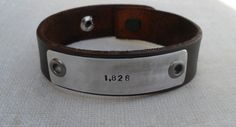 Personalized Leather Bracelet Custom Bracelet Men's Women's Leather Bracelet Customized on Etsy, $38.00