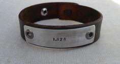 Personalized Leather Bracelet Custom Bracelet Men's Women's Leather Bracelet Customized on Etsy, $38.00