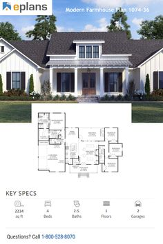 This modern farmhouse plan gives you an open floor plan, large island kitchen, and a wide front porch. Call 1-800-528-8070 today. #architect #architecture #buildingdesign #homedesign #residence #homesweethome #dreamhome #newhome #newhouse #foreverhome #interiors #archdaily #modern #farmhouse #house #lifestyle #design