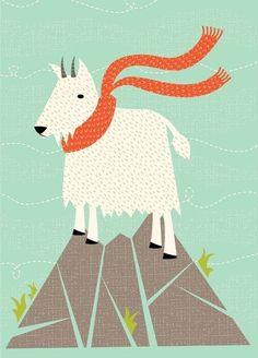 Mountain goat wearing a scarf. Cabras Animal, Goat Art, Animal Crackers, Illustrations, Grafik Design, Whimsical Art, Digital Illustration, Art For Kids, Character Design