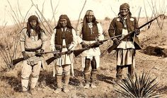 Apache warriors - (from left) Yahnozha, Chappo, Fun and Geronimo. 1886. Photo by C.S. Fly. Cañon de los Embudos in Sonora, Mexico