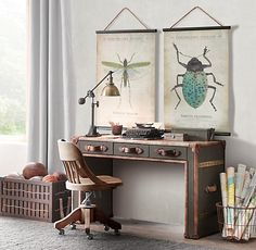 entomology tapestries + steamer trunk desk